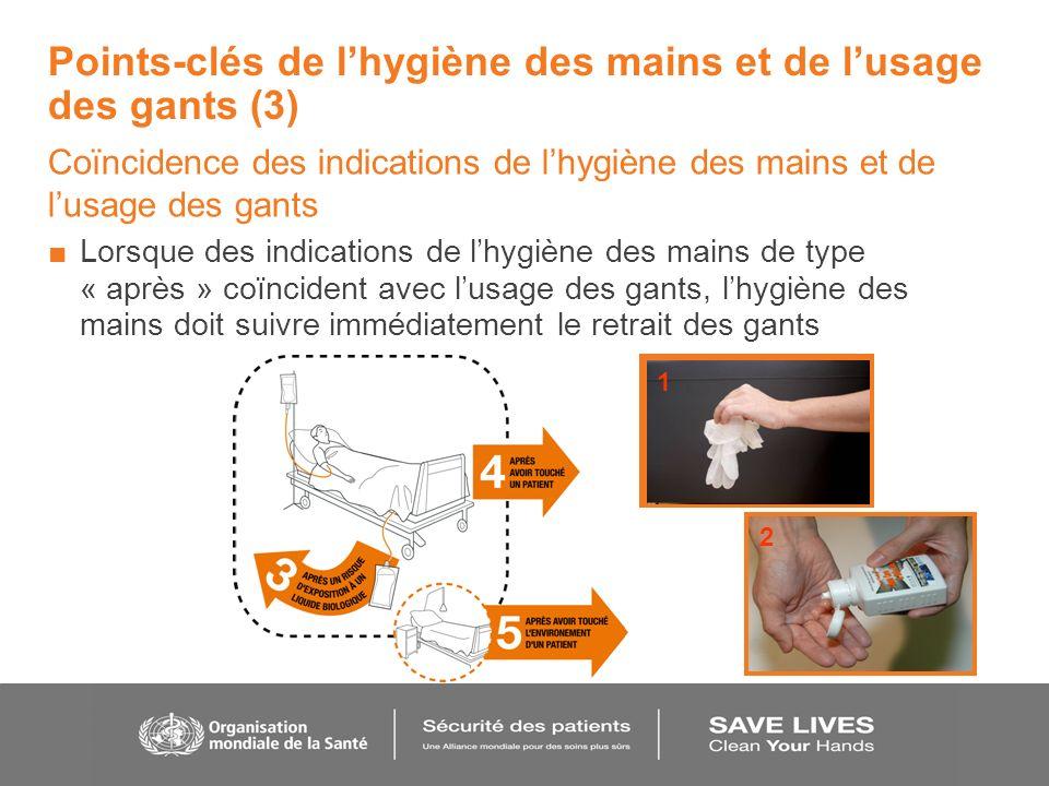Points-clés de lhygiène des mains et de lusage des gants (3) Coïncidence des indications de lhygiène des mains et de lusage des gants Lorsque des indi