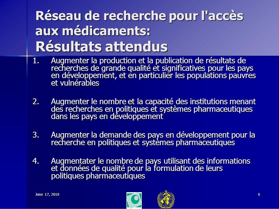 June 17, 20106 Réseau de recherche pour l'accès aux médicaments: Résultats attendus 1.Augmenter la production et la publication de résultats de recher