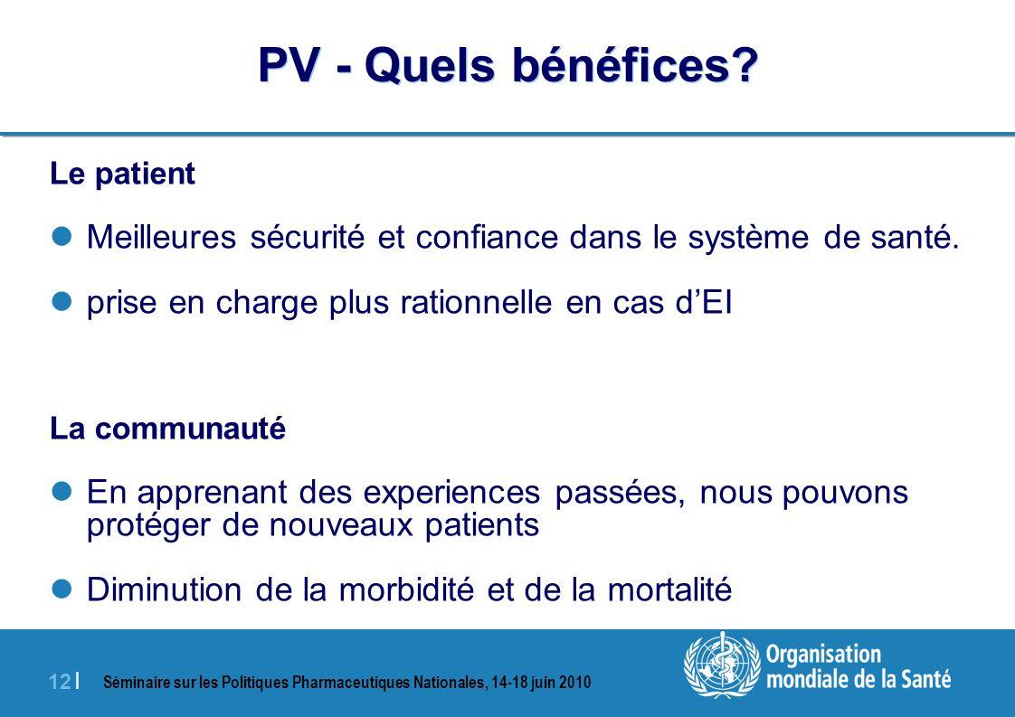 Séminaire sur les Politiques Pharmaceutiques Nationales, 14-18 juin 2010 12 | PV - Quels bénéfices.
