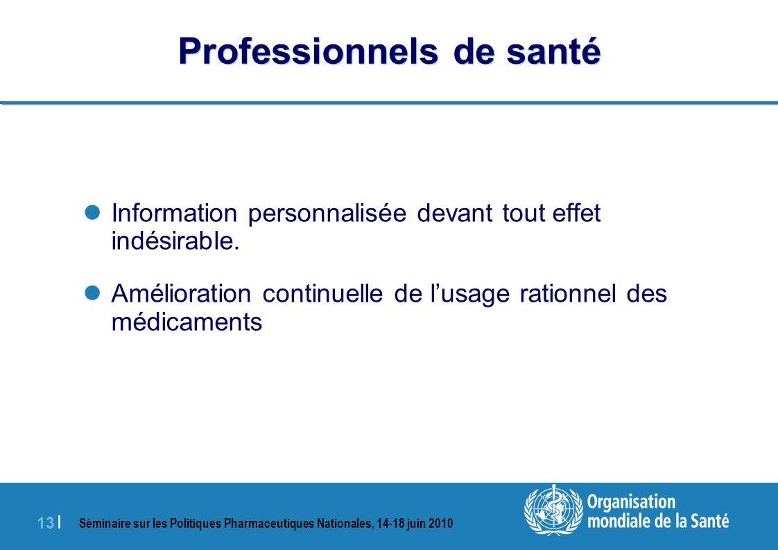 Séminaire sur les Politiques Pharmaceutiques Nationales, 14-18 juin 2010 13 | Professionnels de santé Information personnalisée devant tout effet indésirable.