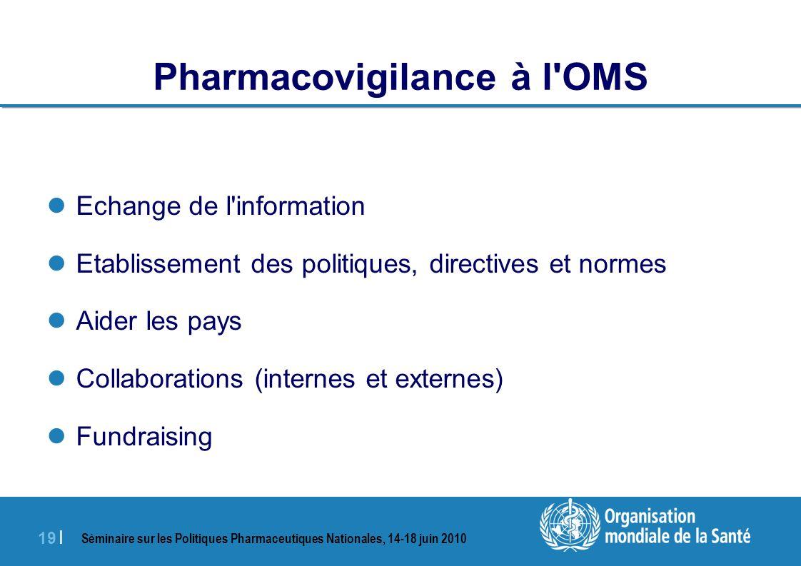 Séminaire sur les Politiques Pharmaceutiques Nationales, 14-18 juin 2010 19 | Pharmacovigilance à l OMS Echange de l information Etablissement des politiques, directives et normes Aider les pays Collaborations (internes et externes) Fundraising