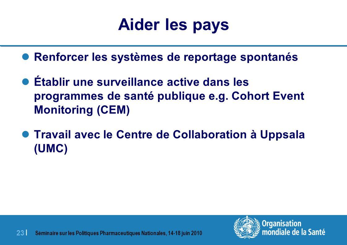 Séminaire sur les Politiques Pharmaceutiques Nationales, 14-18 juin 2010 23 | Aider les pays Renforcer les systèmes de reportage spontanés Établir une surveillance active dans les programmes de santé publique e.g.