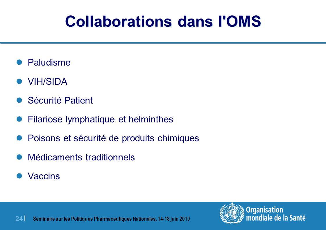 Séminaire sur les Politiques Pharmaceutiques Nationales, 14-18 juin 2010 24 | Collaborations dans l OMS Paludisme VIH/SIDA Sécurité Patient Filariose lymphatique et helminthes Poisons et sécurité de produits chimiques Médicaments traditionnels Vaccins