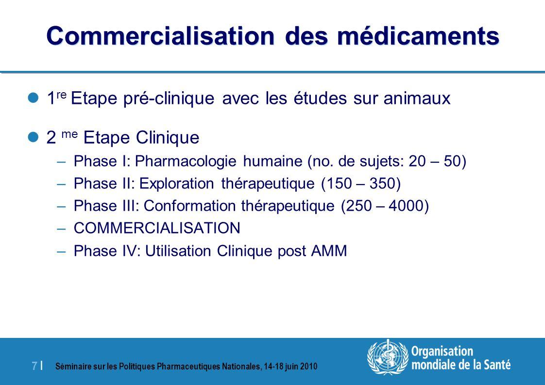 Séminaire sur les Politiques Pharmaceutiques Nationales, 14-18 juin 2010 7 |7 | Commercialisation des médicaments 1 re Etape pré-clinique avec les études sur animaux 2 me Etape Clinique –Phase I: Pharmacologie humaine (no.