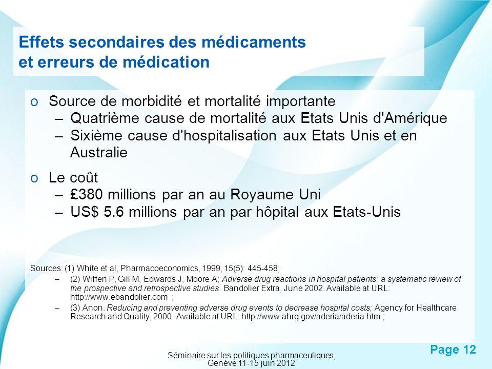 Powerpoint Templates Page 12 Effets secondaires des médicaments et erreurs de médication oSource de morbidité et mortalité importante –Quatrième cause