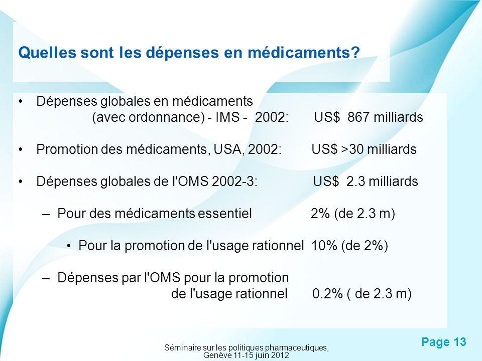 Powerpoint Templates Page 13 Quelles sont les dépenses en médicaments? Dépenses globales en médicaments (avec ordonnance) - IMS - 2002: US$ 867 millia