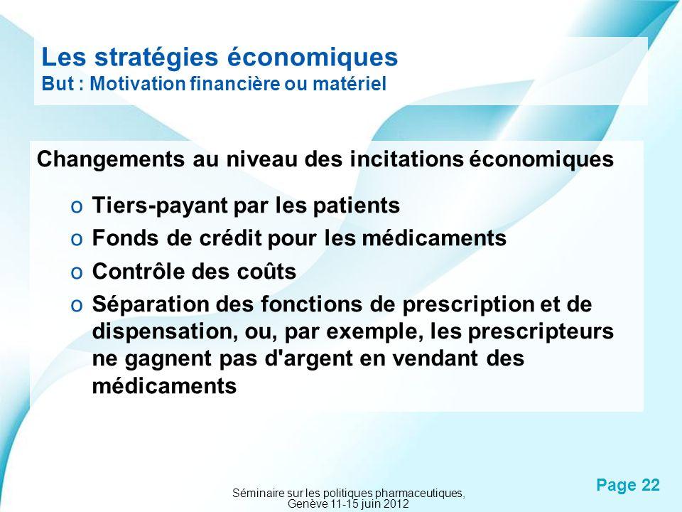 Powerpoint Templates Page 22 Les stratégies économiques But : Motivation financière ou matériel Changements au niveau des incitations économiques oTie