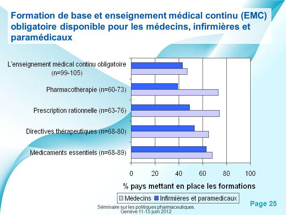 Powerpoint Templates Page 25 Formation de base et enseignement médical continu (EMC) obligatoire disponible pour les médecins, infirmières et paramédi