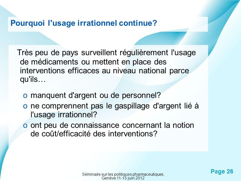 Powerpoint Templates Page 26 Pourquoi l'usage irrationnel continue? Très peu de pays surveillent régulièrement l'usage de médicaments ou mettent en pl