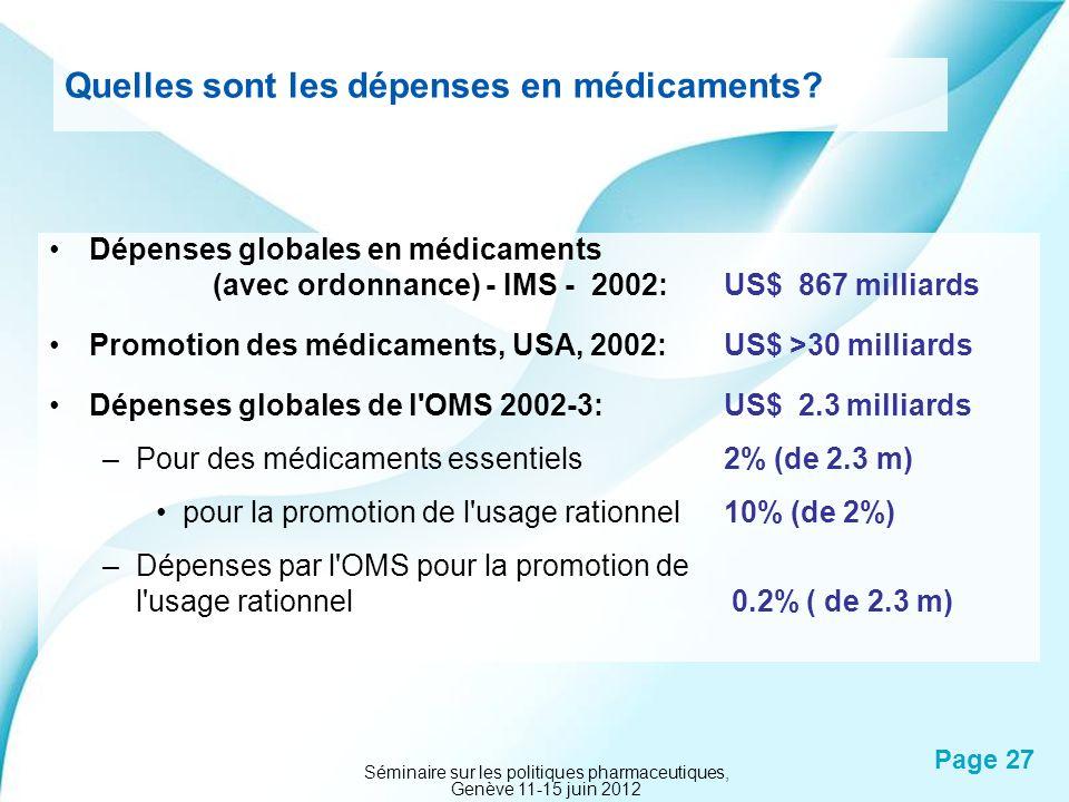 Powerpoint Templates Page 27 Quelles sont les dépenses en médicaments? Dépenses globales en médicaments (avec ordonnance) - IMS - 2002: US$ 867 millia