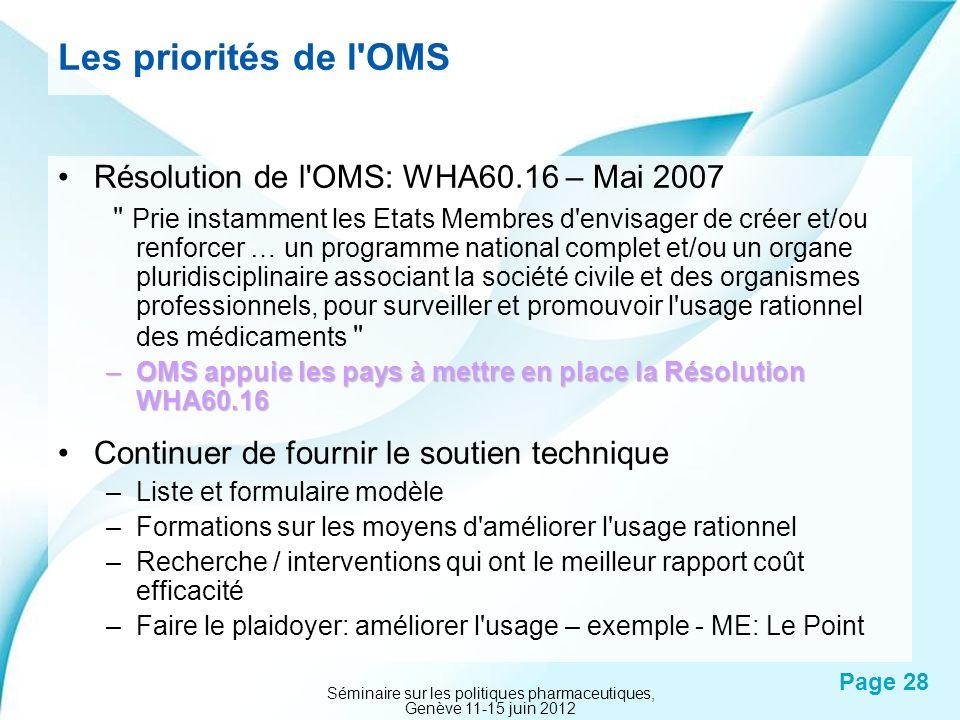 Powerpoint Templates Page 28 Les priorités de l'OMS Résolution de l'OMS: WHA60.16 – Mai 2007