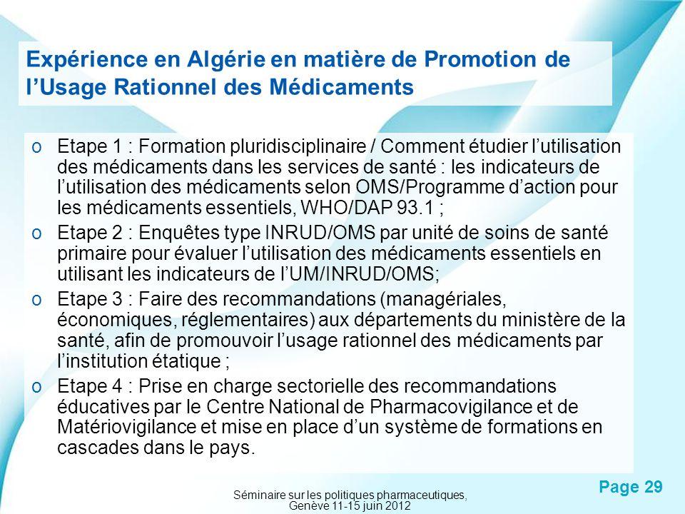 Powerpoint Templates Page 29 Expérience en Algérie en matière de Promotion de lUsage Rationnel des Médicaments oEtape 1 : Formation pluridisciplinaire