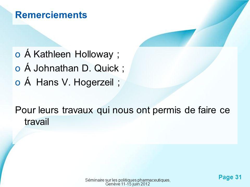 Powerpoint Templates Page 31 Remerciements oÁ Kathleen Holloway ; oÁ Johnathan D. Quick ; oÁ Hans V. Hogerzeil ; Pour leurs travaux qui nous ont permi