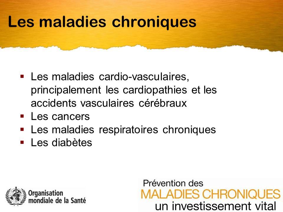 Les maladies cardio-vasculaires, principalement les cardiopathies et les accidents vasculaires cérébraux Les cancers Les maladies respiratoires chroniques Les diabètes Les maladies chroniques