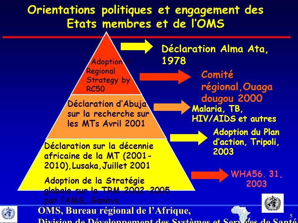 6 OMS, Bureau régional de lAfrique, Division de Développement des Systèmes et Services de Santé