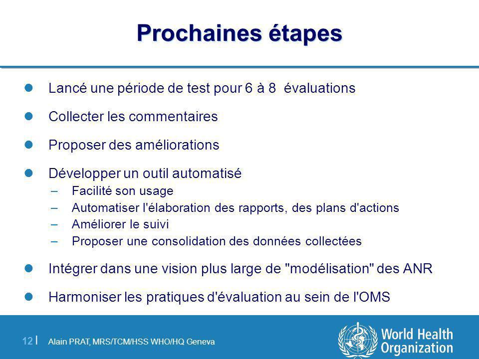 Alain PRAT, MRS/TCM/HSS WHO/HQ Geneva 12 | Prochaines étapes Lancé une période de test pour 6 à 8 évaluations Collecter les commentaires Proposer des
