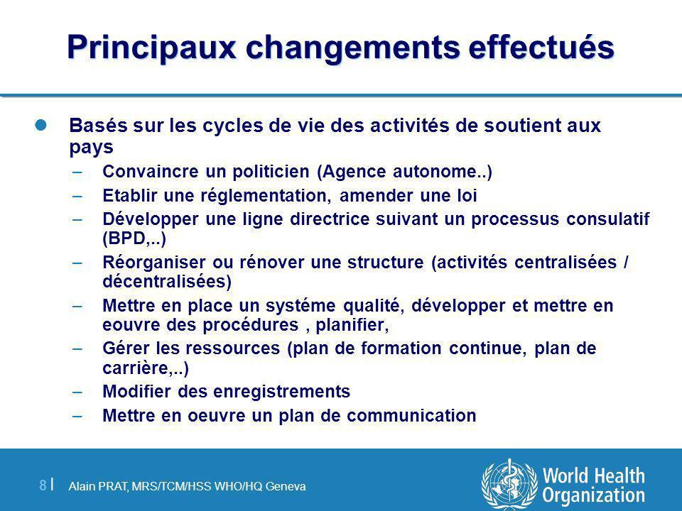 Alain PRAT, MRS/TCM/HSS WHO/HQ Geneva 8 |8 | Principaux changements effectués Basés sur les cycles de vie des activités de soutient aux pays –Convainc