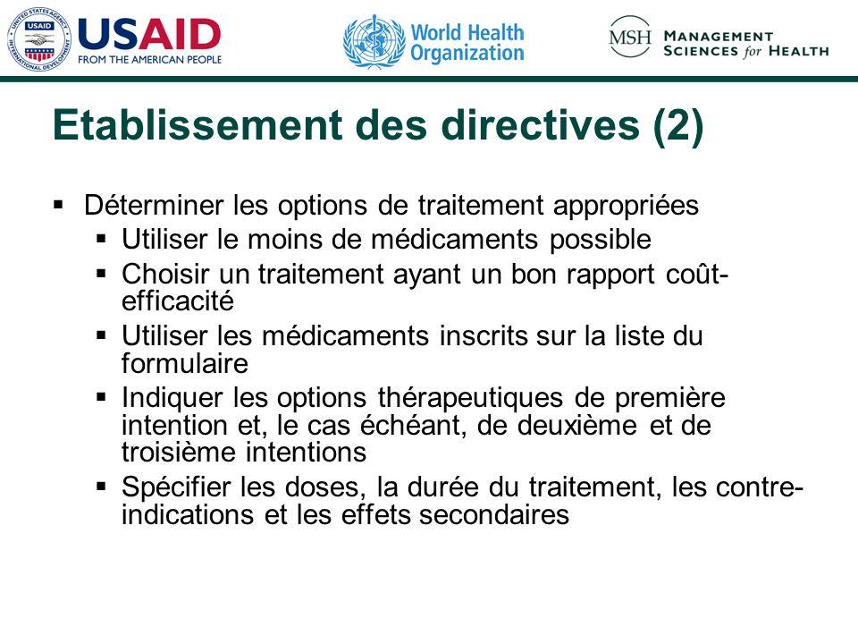 Etablissement des directives (2) Déterminer les options de traitement appropriées Utiliser le moins de médicaments possible Choisir un traitement ayan