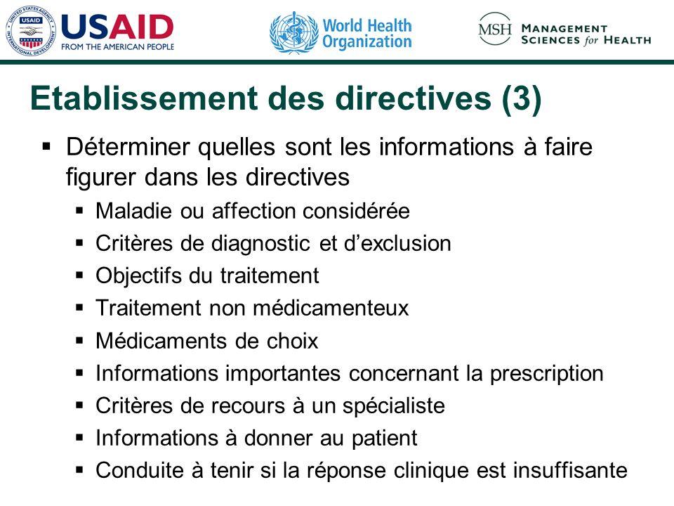 Etablissement des directives (3) Déterminer quelles sont les informations à faire figurer dans les directives Maladie ou affection considérée Critères