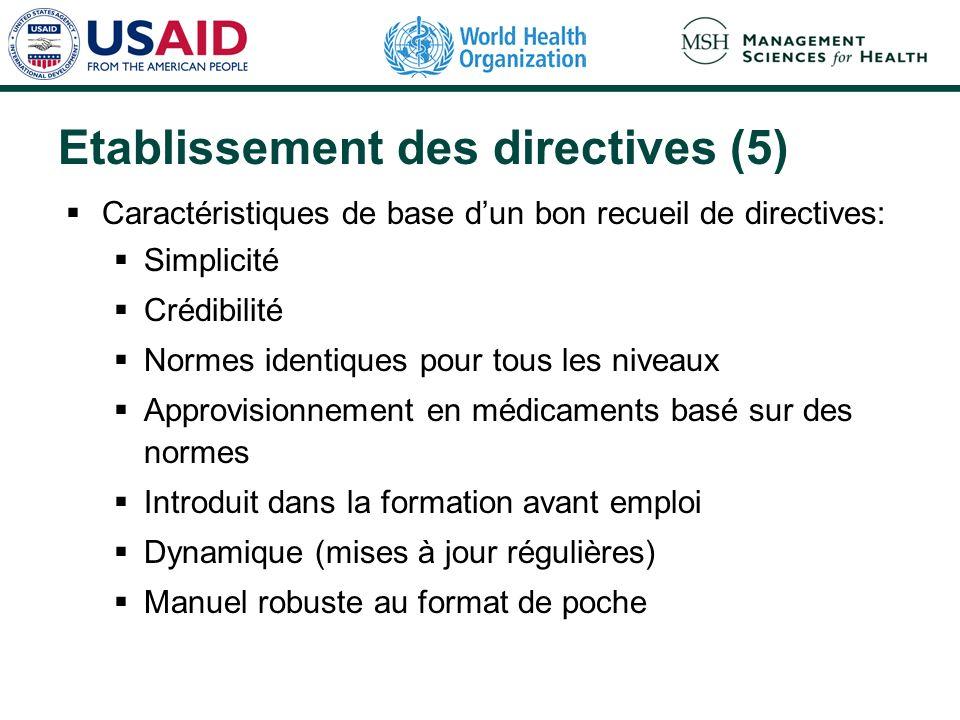 Etablissement des directives (5) Caractéristiques de base dun bon recueil de directives: Simplicité Crédibilité Normes identiques pour tous les niveau