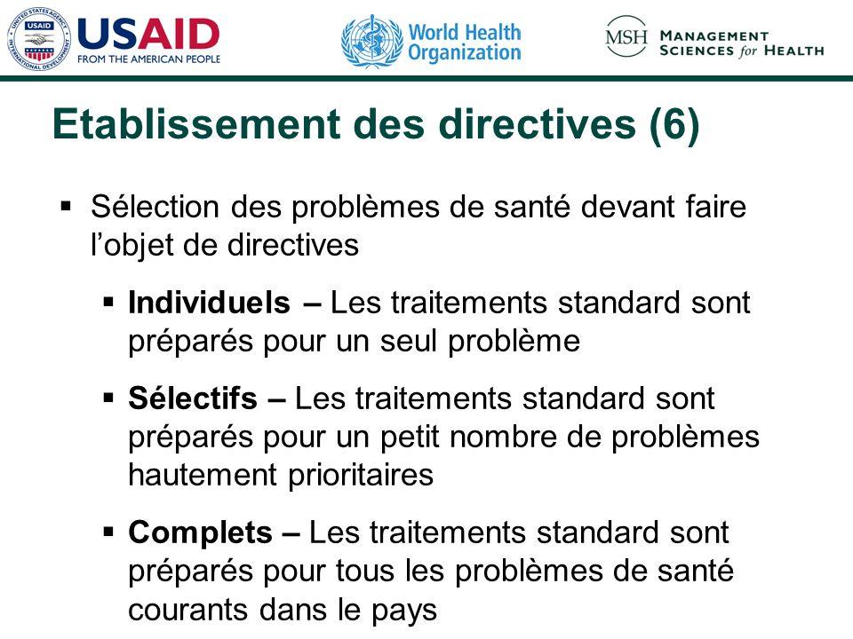 Etablissement des directives (6) Sélection des problèmes de santé devant faire lobjet de directives Individuels – Les traitements standard sont prépar