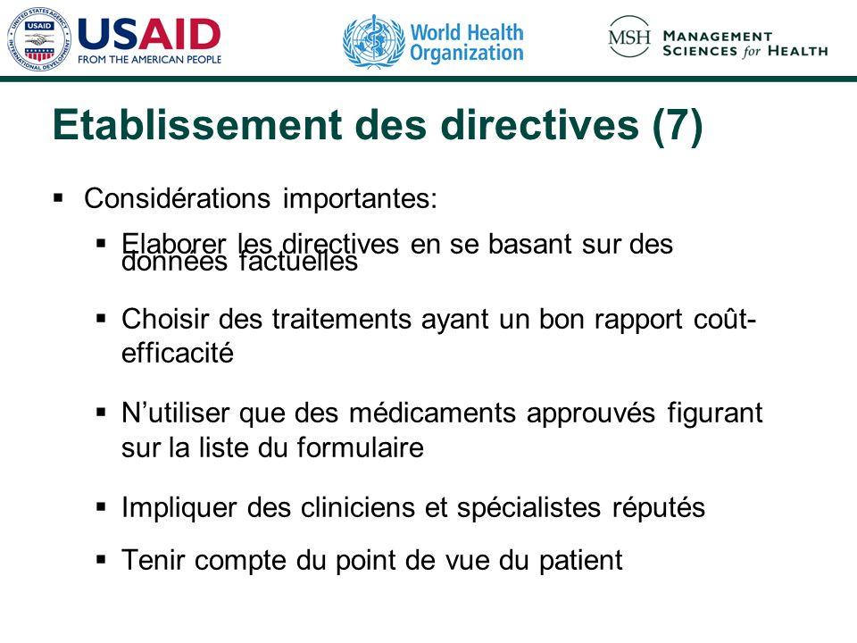 Etablissement des directives (7) Considérations importantes: Elaborer les directives en se basant sur des données factuelles Choisir des traitements a