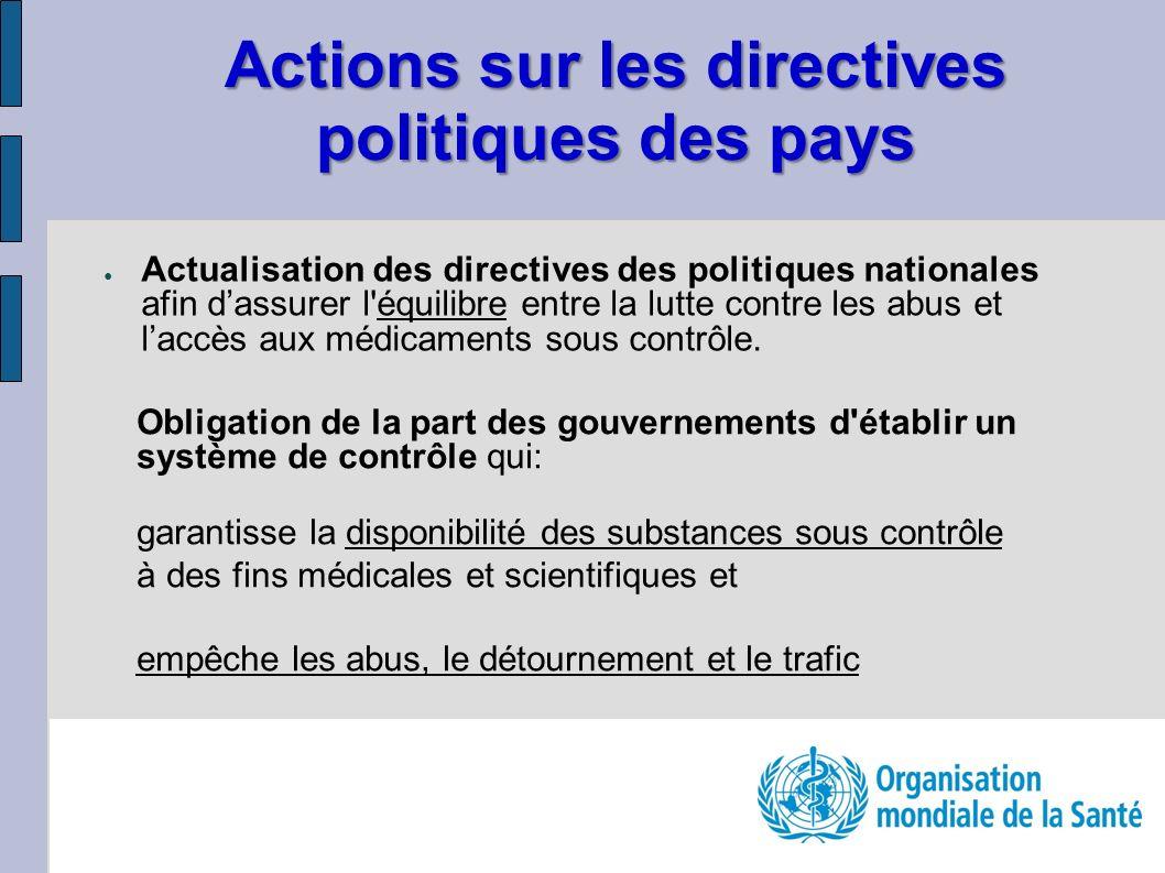 Actions sur les directives politiques des pays Actualisation des directives des politiques nationales afin dassurer l équilibre entre la lutte contre les abus et laccès aux médicaments sous contrôle.