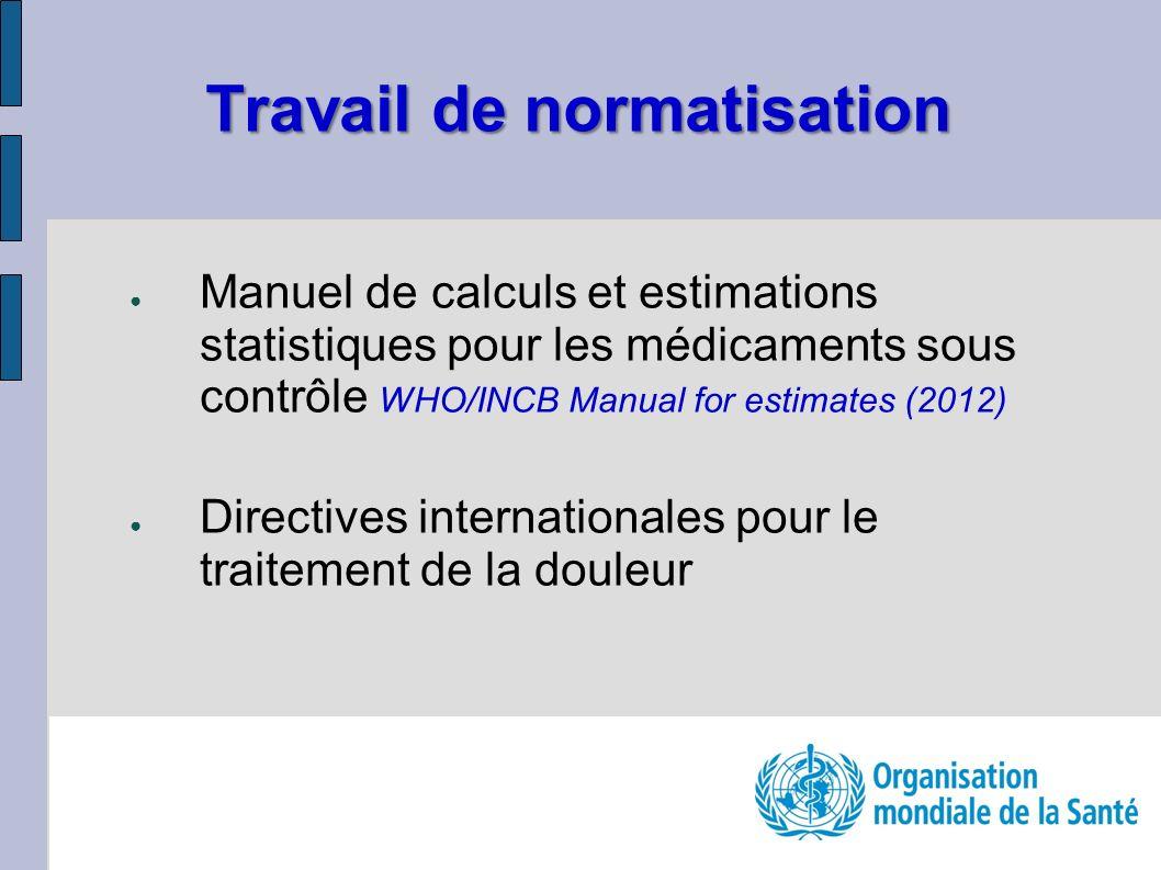 Travail de normatisation Manuel de calculs et estimations statistiques pour les médicaments sous contrôle WHO/INCB Manual for estimates (2012) Directives internationales pour le traitement de la douleur