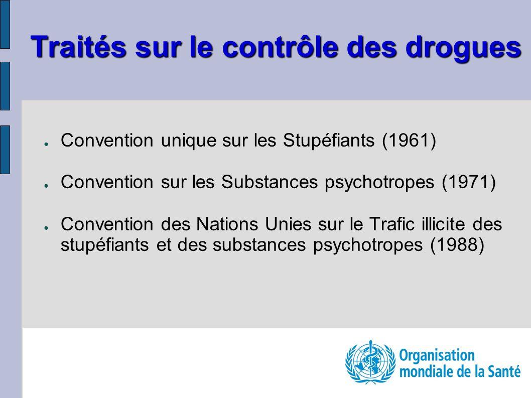 Traités sur le contrôle des drogues Convention unique sur les Stupéfiants (1961) Convention sur les Substances psychotropes (1971) Convention des Nations Unies sur le Trafic illicite des stupéfiants et des substances psychotropes (1988)