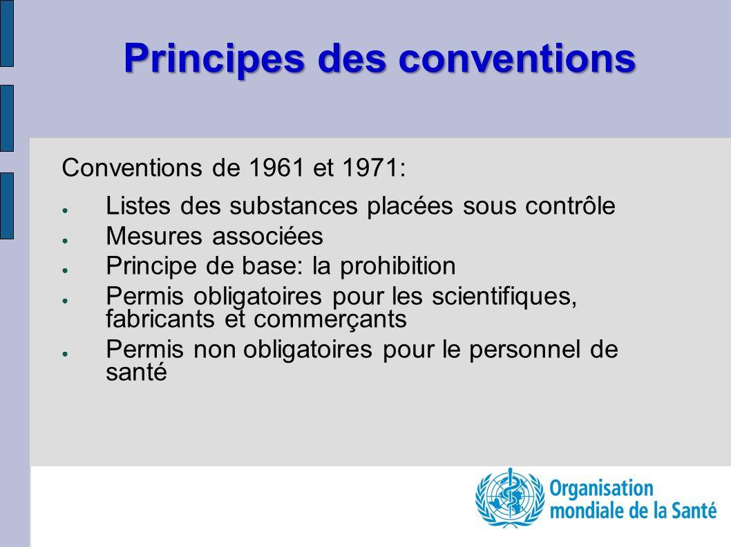 Principes des conventions Conventions de 1961 et 1971: Listes des substances placées sous contrôle Mesures associées Principe de base: la prohibition Permis obligatoires pour les scientifiques, fabricants et commerçants Permis non obligatoires pour le personnel de santé
