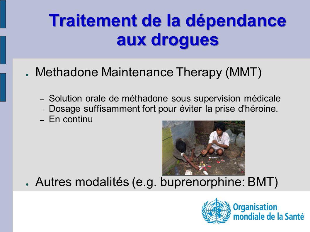 Traitement de la dépendance aux drogues Methadone Maintenance Therapy (MMT) – Solution orale de méthadone sous supervision médicale – Dosage suffisamment fort pour éviter la prise d héroine.
