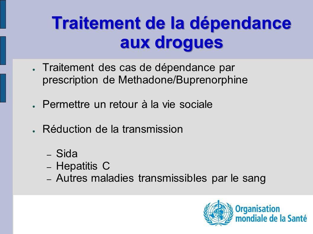Traitement des cas de dépendance par prescription de Methadone/Buprenorphine Permettre un retour à la vie sociale Réduction de la transmission – Sida – Hepatitis C – Autres maladies transmissibles par le sang Traitement de la dépendance aux drogues