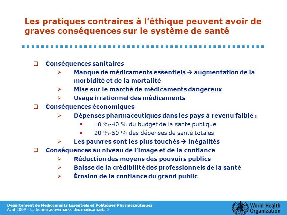 Departement de Médicaments Essentiels et Politiques Pharmaceutiques Avril 2009 – La bonne gouvernance des médicaments 5 Les pratiques contraires à lét