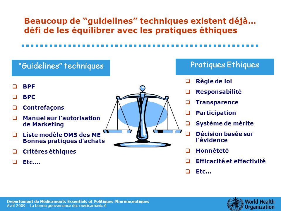 Departement de Médicaments Essentiels et Politiques Pharmaceutiques Avril 2009 – La bonne gouvernance des médicaments 6 Beaucoup de guidelines techniq