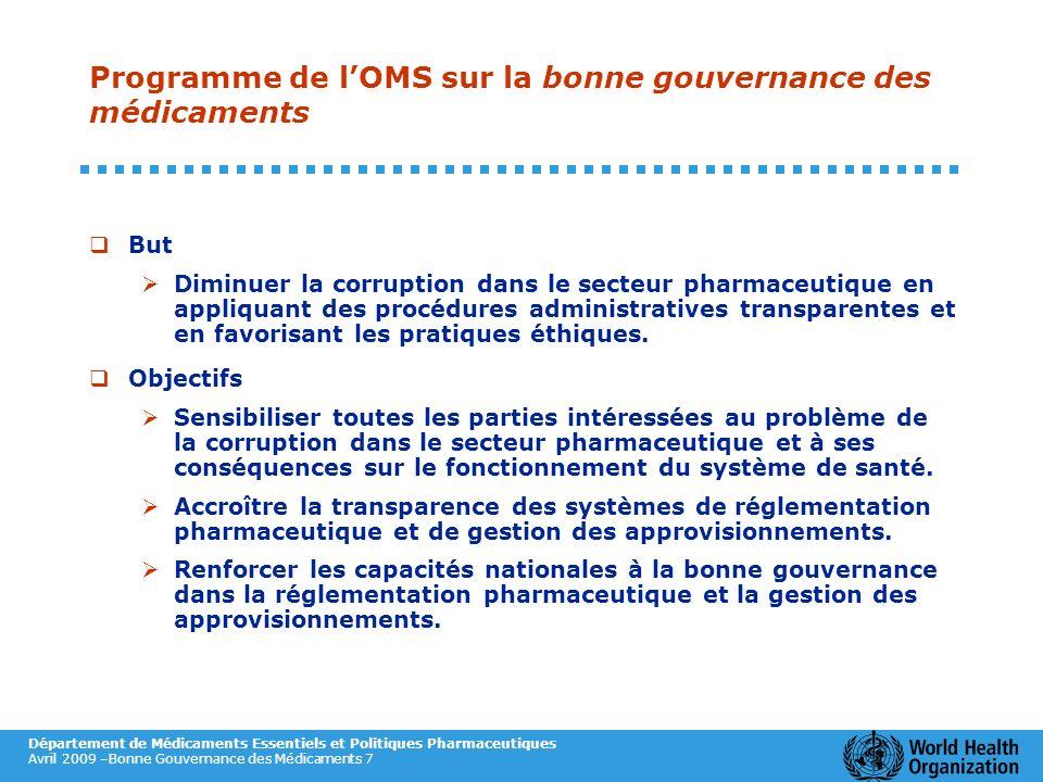 Département de Médicaments Essentiels et Politiques Pharmaceutiques Avril 2009 –Bonne Gouvernance des Médicaments 7 Programme de lOMS sur la bonne gou