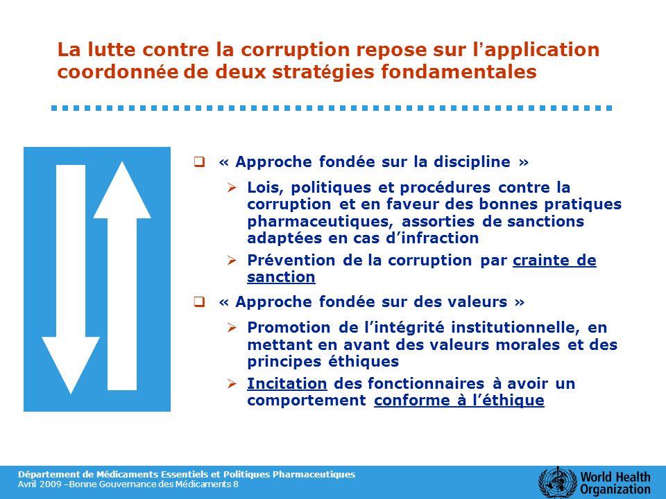Département de Médicaments Essentiels et Politiques Pharmaceutiques Avril 2009 –Bonne Gouvernance des Médicaments 8 La lutte contre la corruption repo