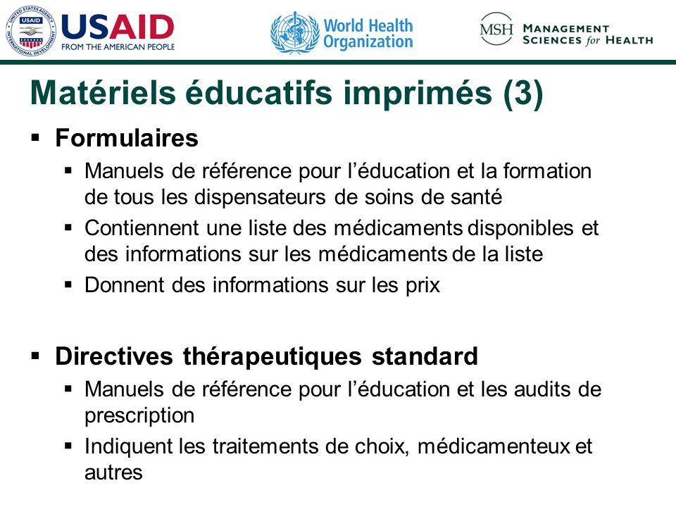 Matériels éducatifs imprimés (3) Formulaires Manuels de référence pour léducation et la formation de tous les dispensateurs de soins de santé Contienn