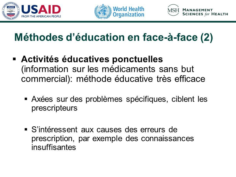 Méthodes déducation en face-à-face (2) Activités éducatives ponctuelles (information sur les médicaments sans but commercial): méthode éducative très