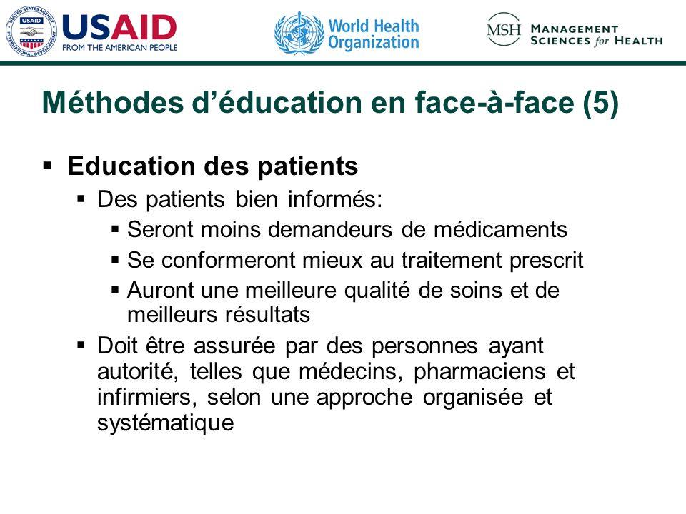 Méthodes déducation en face-à-face (5) Education des patients Des patients bien informés: Seront moins demandeurs de médicaments Se conformeront mieux