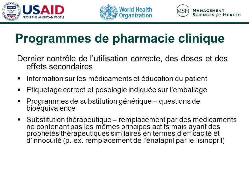 Programmes de pharmacie clinique Dernier contrôle de lutilisation correcte, des doses et des effets secondaires Information sur les médicaments et édu