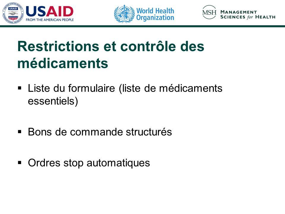 Restrictions et contrôle des médicaments Liste du formulaire (liste de médicaments essentiels) Bons de commande structurés Ordres stop automatiques
