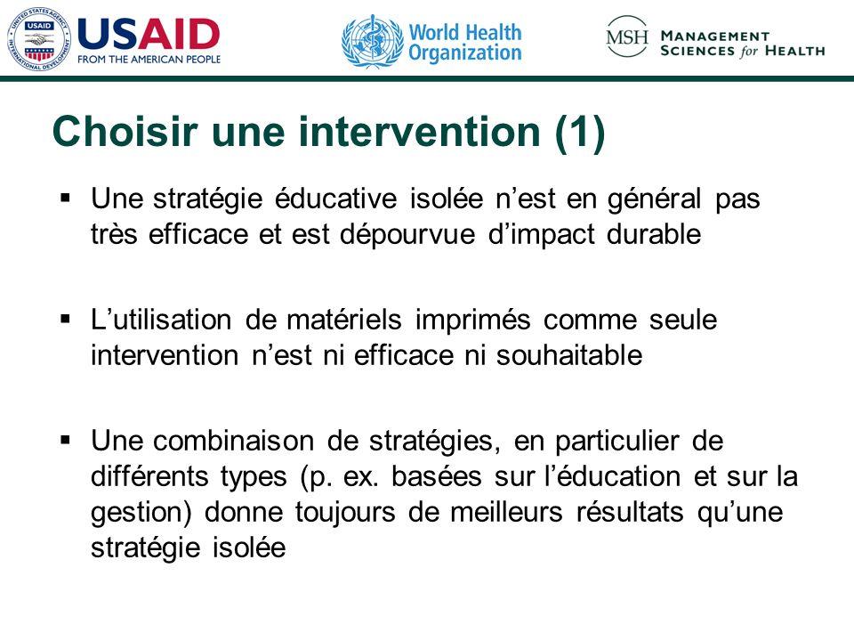 Choisir une intervention (1) Une stratégie éducative isolée nest en général pas très efficace et est dépourvue dimpact durable Lutilisation de matérie