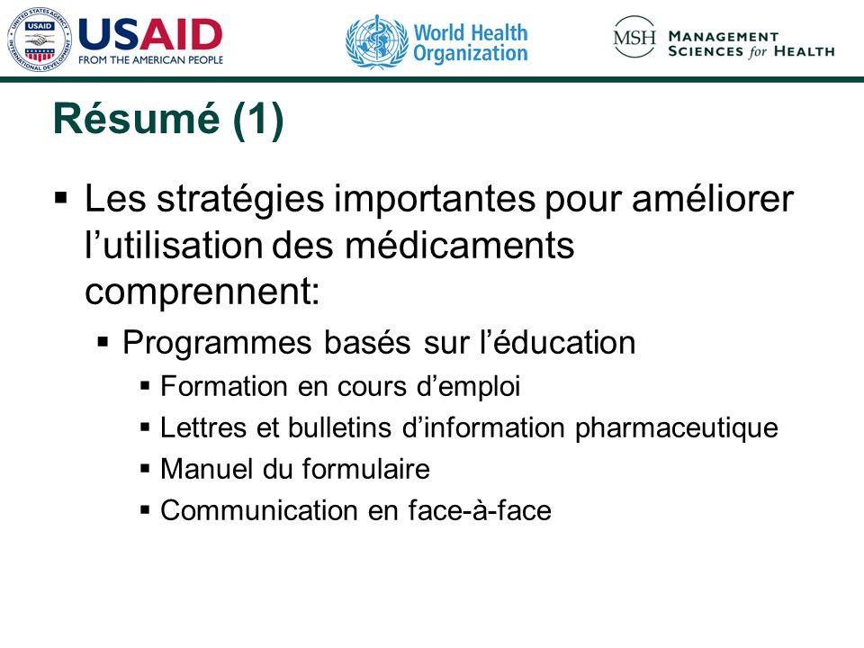 Résumé (1) Les stratégies importantes pour améliorer lutilisation des médicaments comprennent: Programmes basés sur léducation Formation en cours demp