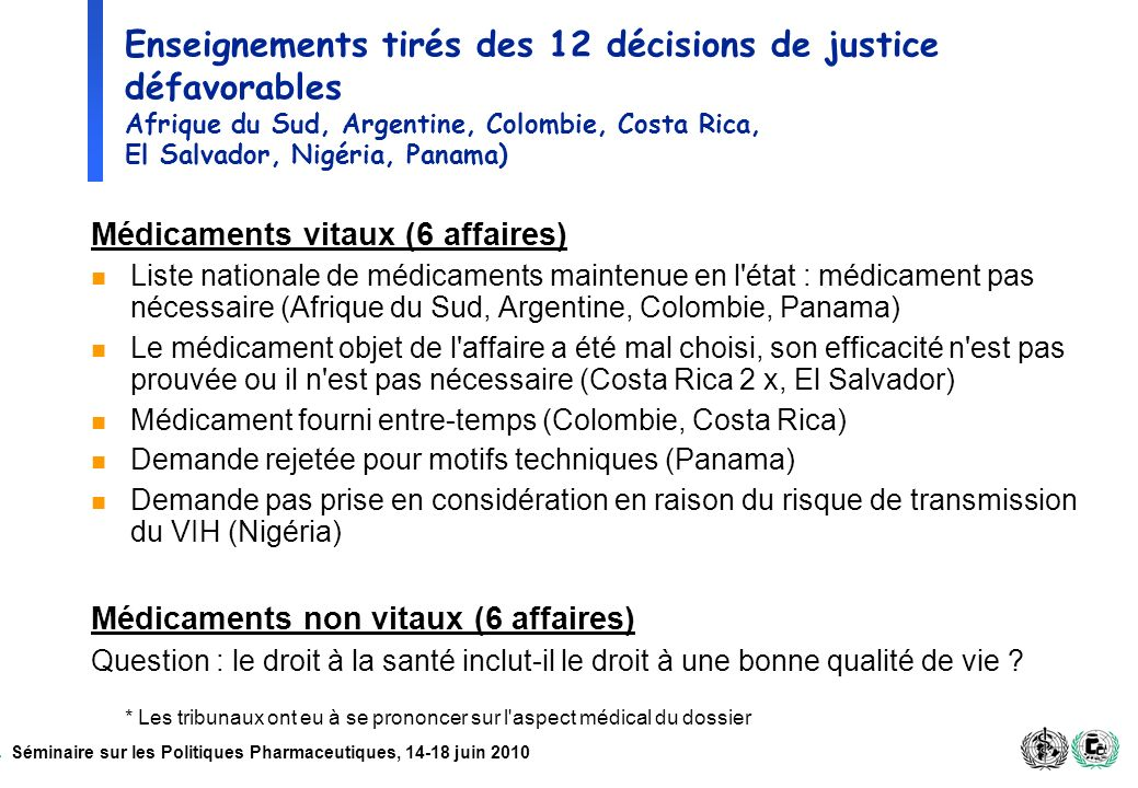 Séminaire sur les Politiques Pharmaceutiques, 14-18 juin 2010 Enseignements tirés des 12 décisions de justice défavorables Afrique du Sud, Argentine,