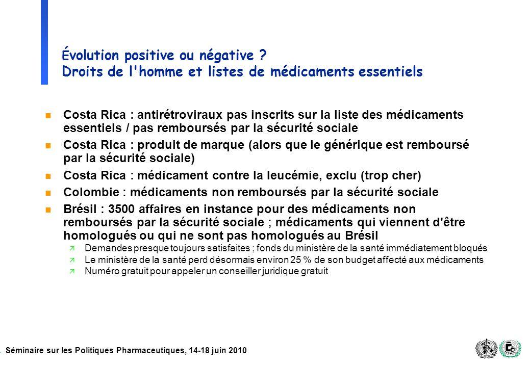 Séminaire sur les Politiques Pharmaceutiques, 14-18 juin 2010 É volution positive ou négative ? Droits de l'homme et listes de médicaments essentiels