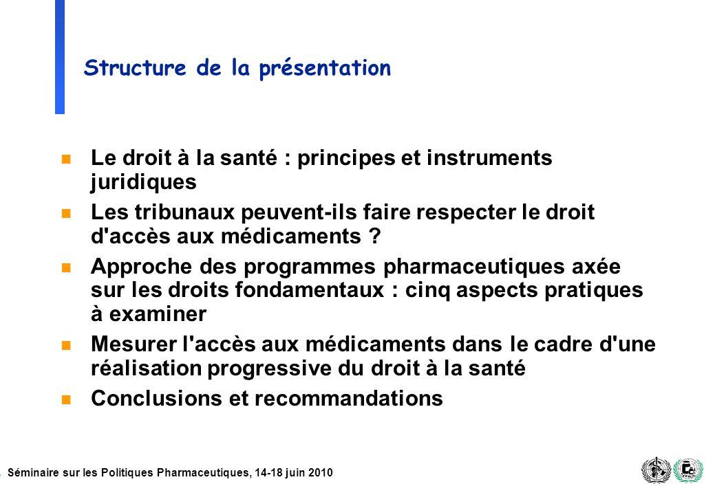 Séminaire sur les Politiques Pharmaceutiques, 14-18 juin 2010 Structure de la présentation n Le droit à la santé : principes et instruments juridiques