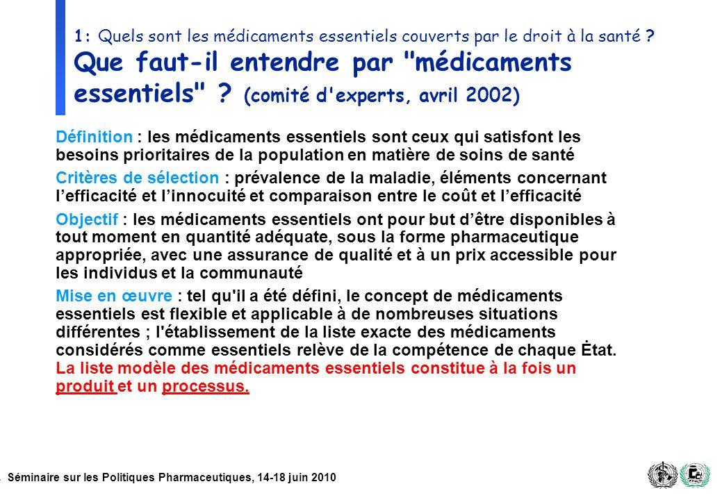 Séminaire sur les Politiques Pharmaceutiques, 14-18 juin 2010 1: Quels sont les médicaments essentiels couverts par le droit à la santé ? Que faut-il