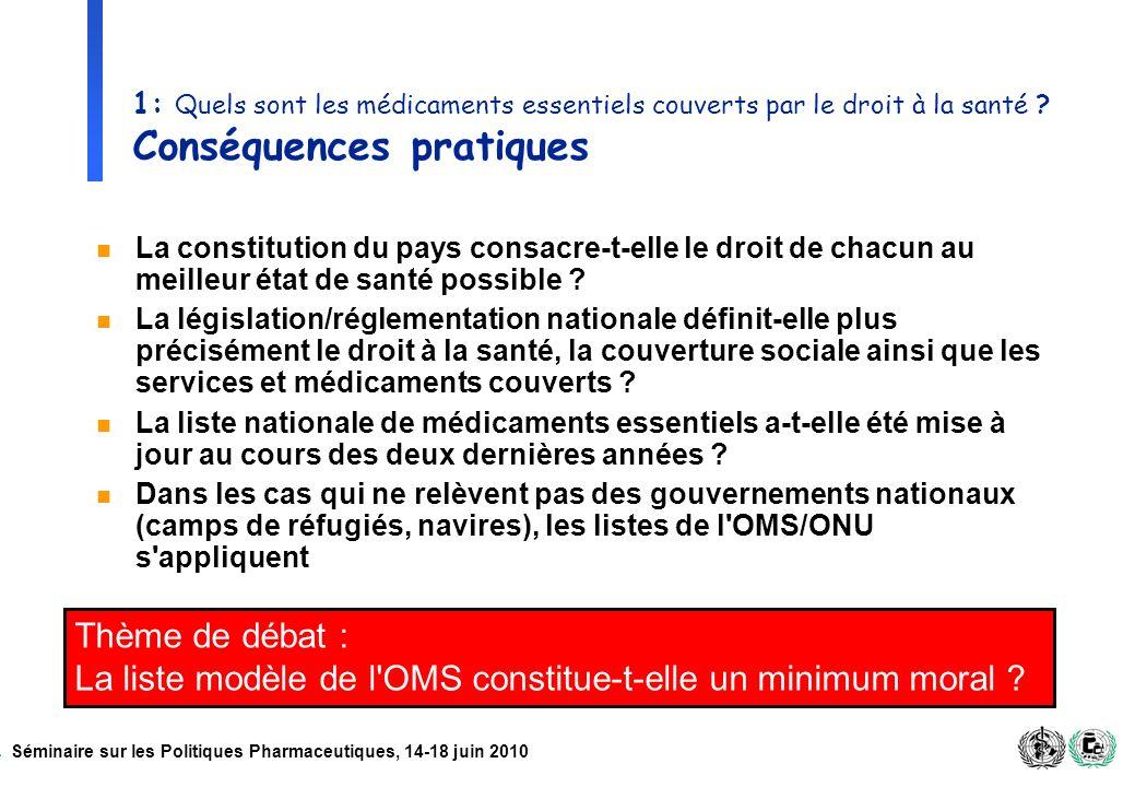 Séminaire sur les Politiques Pharmaceutiques, 14-18 juin 2010 1: Quels sont les médicaments essentiels couverts par le droit à la santé ? Conséquences