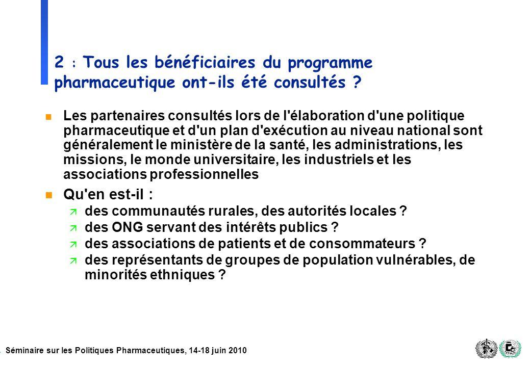 Séminaire sur les Politiques Pharmaceutiques, 14-18 juin 2010 2 : Tous les bénéficiaires du programme pharmaceutique ont-ils été consultés ? n Les par