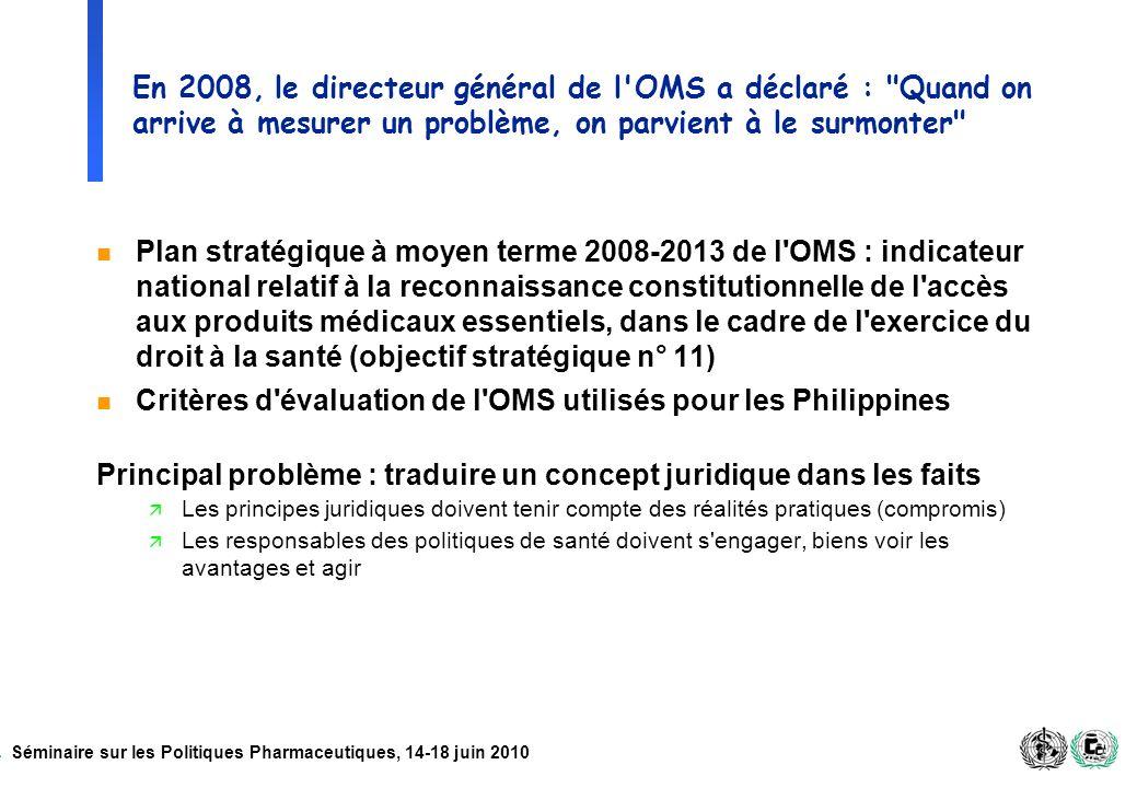 Séminaire sur les Politiques Pharmaceutiques, 14-18 juin 2010 En 2008, le directeur général de l'OMS a déclaré :